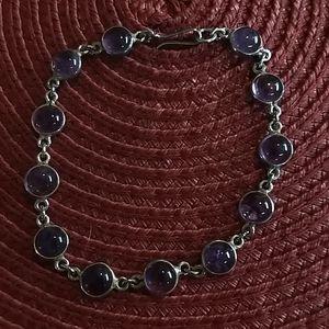 """🌵 3 For $20 8"""" silver w/ purple stones bracelet"""